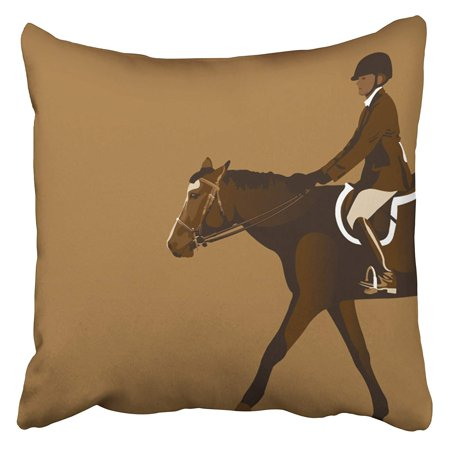 Jumper Saddle (ECCOT Brown Derby Equestrian Rider with Horse Jumper Reins Saddle Boots Close Pillow Case Pillow Cover 20x20 inch)