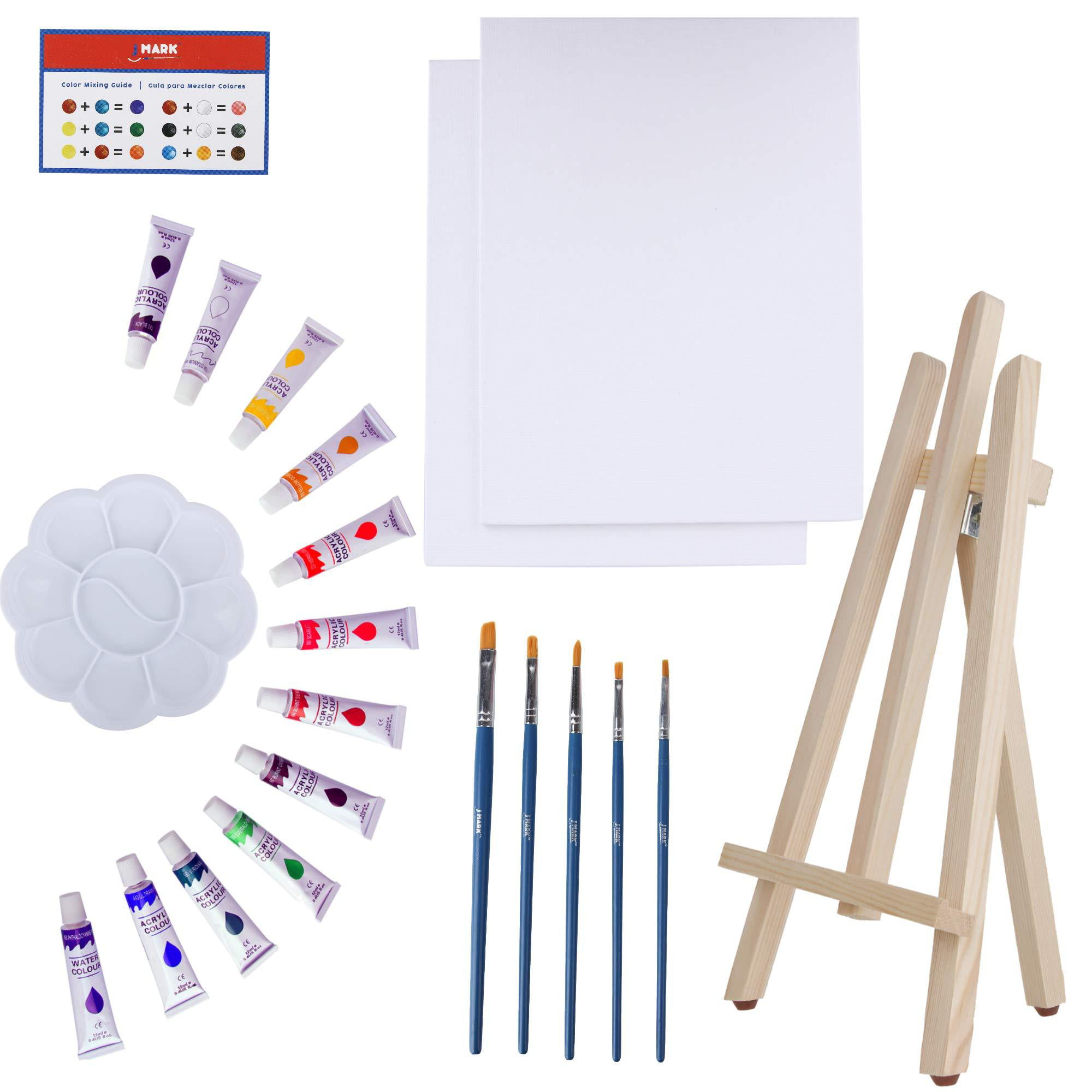Art Canvas Paint Set Supplies 22 Piece Canvas Acrylic Painting Kit With Wood Easel 8x10 Inch Canvases 12 Non Toxic Washable Paints 5 Brushes Palette And Color Mixing Guide Walmart Com Walmart Com