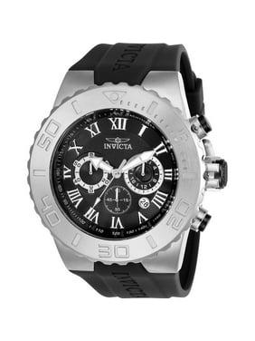 Invicta Men's Pro Diver 51mm Black Polyurethane Band Steel Case Flame-Fusion Crystal Quartz Watch 24747