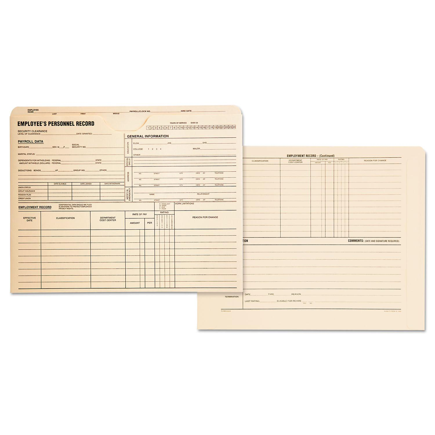 2 X Pack of 100 Flat Expansion Quality Park Personnel Record Jacket 9-1//2 x 11-3//4 Inches per Box QUA69999