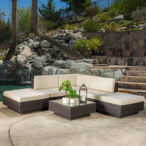 Christopher Knight Home Santorini Outdoor 6-piece Brown Wicker Sofa Set with Cushions by by Wicker Furniture
