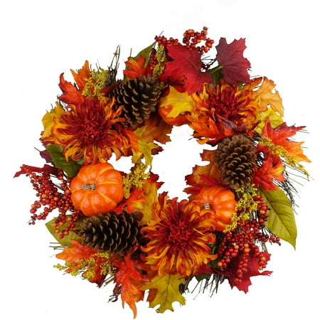 Orange pumpkins mixed wreath fall harvest halloween for Fall into color jewelry walmart