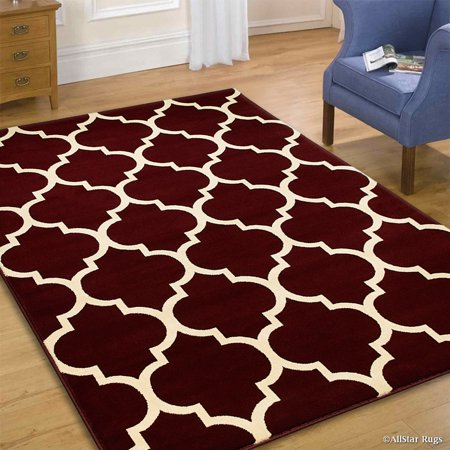 Allstar Red Wool-Touch Look High Quality Woven Area Rug . High Quality Frieze Colorfun (5' 1