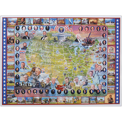 """Jigsaw Puzzle American History 1000 Pieces 24""""X30""""-United States Presidents by White Mountain Puzzles"""