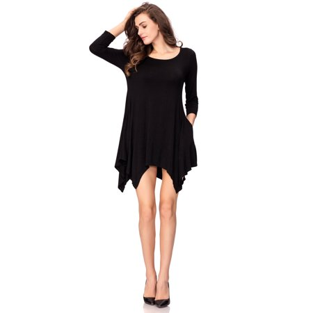 One Sight Casual Tunic Tops Loose Plus Size T Shirt Dress For Women  Round Collar  Long Sleeve  Three Colors Options