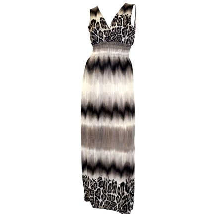 Belle Donne - Womens Clothing Sleeveless Maxi-Heather Full-Length Leopard / M
