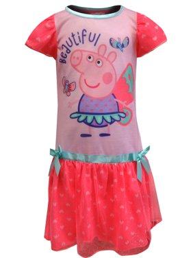 Peppa Pig Toddler Girl Fairy Princess Ruffle Shimmer Nightgown Pajamas