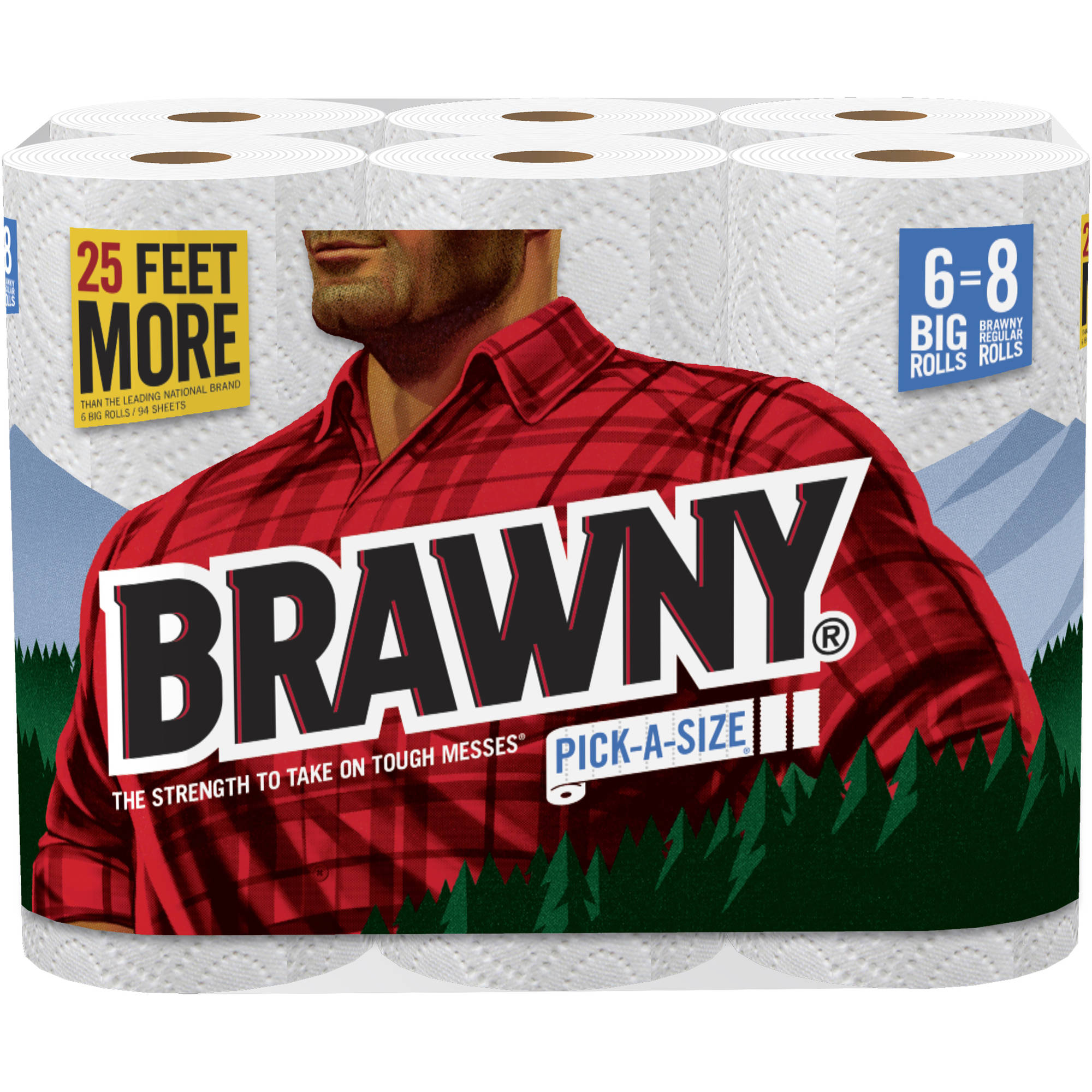 Brawny Pick-a-Size Big Roll Paper Towels, 104 sheets, 6 rolls