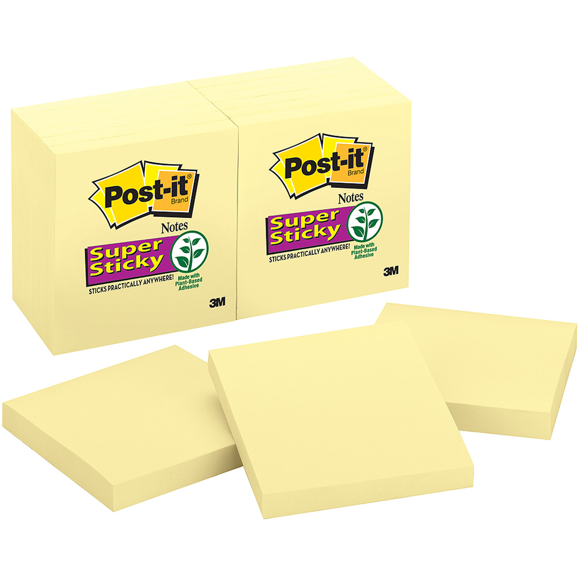 Post-it Super Sticky Notes, 3 in x 3 in, Canary Yellow, 12-Pack
