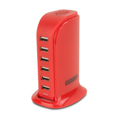 Lightning Charging Station, Portable 6-port Usb Fast Charging Station, Red (Portable Charging Station)
