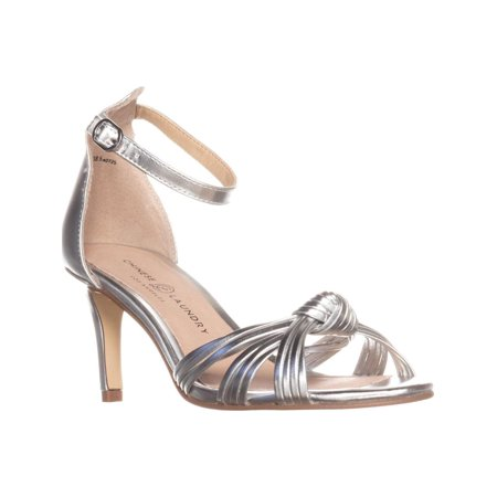 Womens Chinese Laundry Robbie Ankle Strap Sandals, Silver Ankle Strap Chinese Laundry