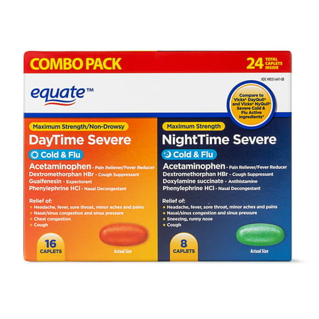 Equate Cold & Flu Formula, Maximum Strength, 16 DayTime Caplets, 8 NightTime