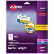 "Avery Adhesive Name Badges, 2-1/3"" x 3-3/8"", 80 Badges (25395)"