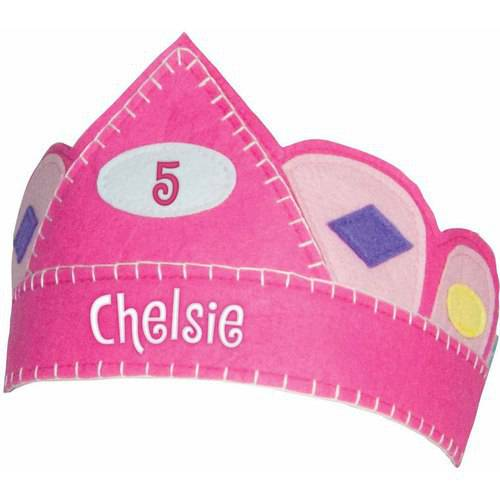 Personalized Pink Birthday Crown with Gems