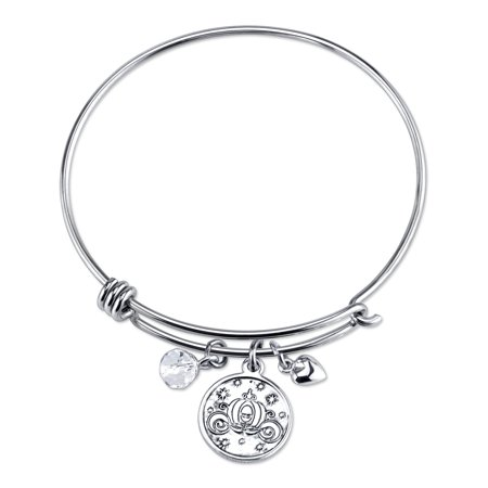 Stainless Steel Catch Bangle with Silver Plated Cinderella Carriage Charm If You Keep Believing the Dreams You Wish Will Come True and Crystal Bead Charm Bangle Bracelet Crystal Bead Bracelet