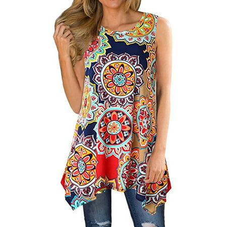 Maraso Women Summer Floral Printed Boho Sleeveless Tunic Blouse Tank Tops (Tank Top Tunic Blouse)