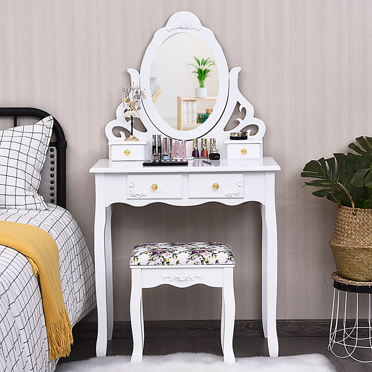 Costway Makeup Table Stool Wood Vanity Dressing Desk Mirror 4 Drawers - Walmart.com - Walmart.com