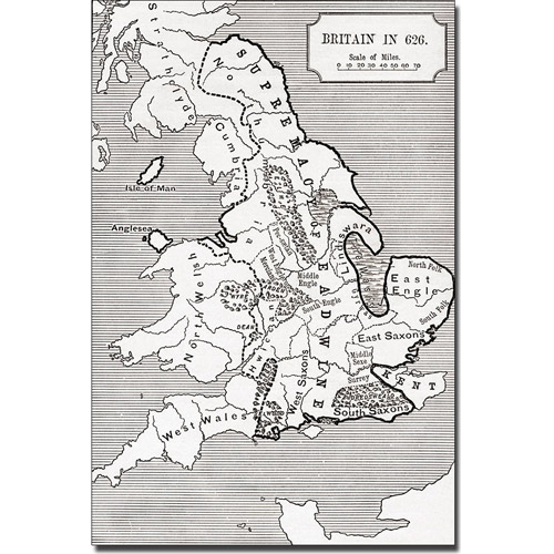 Trademark Art 'Map of Britain in 626' Canvas Art