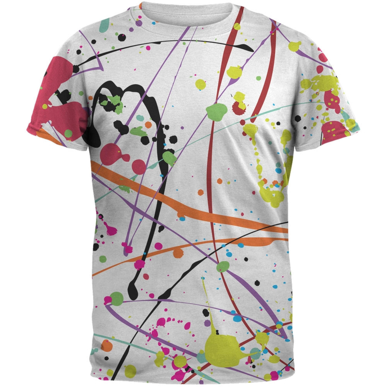 Splatter Paint White All Over Adult T-Shirt
