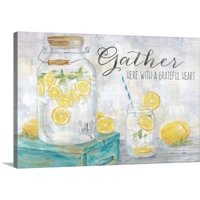 Gather Here Country Lemons Landscape | Canvas Wall Art, Home Decor | 24x16