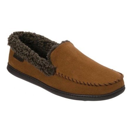 Handmade Moccasin (Dearfoams Men's Microsuede Whipstitch Moccasin Slipper - Wide Width )