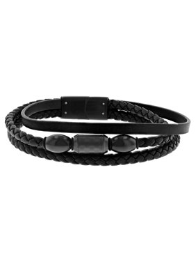 Believe by Brilliance Men's Stainless Steel and Faux Leather Three Strand Bracelet