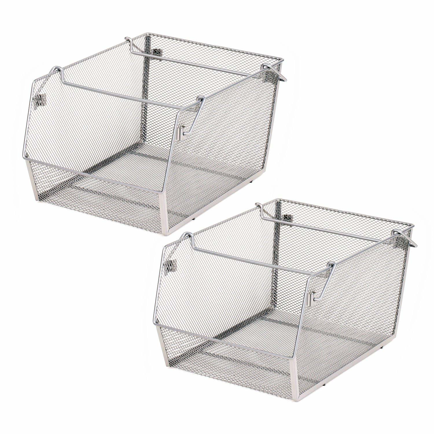 Large Stacking Mesh Storage Bins (2-Pack)
