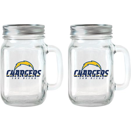 - NFL 16 oz San Diego Chargers Glass Jar with Lid and Handle, 2pk