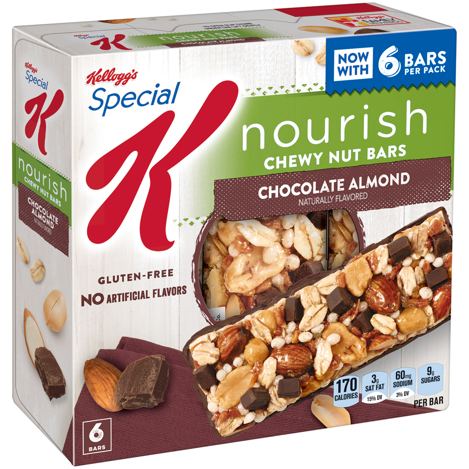 Kellogg's Special K Chewy Nut Bars, Chocolate Almond, Gluten Free, 6.96 oz 6 Ct