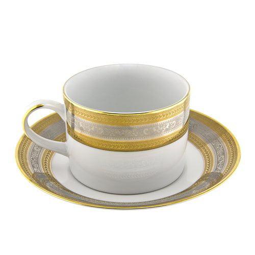 TenStrawberryStreet Elegance 8 oz. Teacup and Saucer (Set of 6)