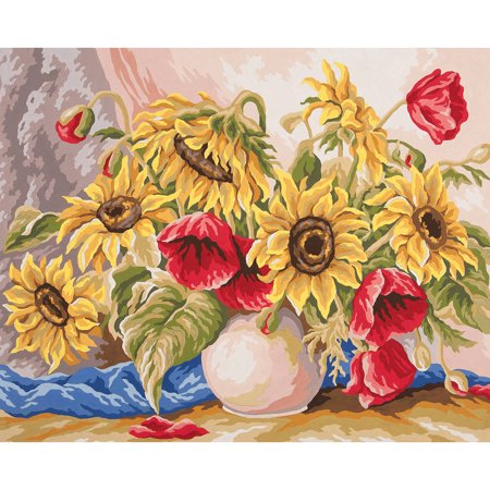 Collection D'Art Needlepoint Printed Tapestry Canvas, 60cm x 50cm, Poppies & Sunflowers