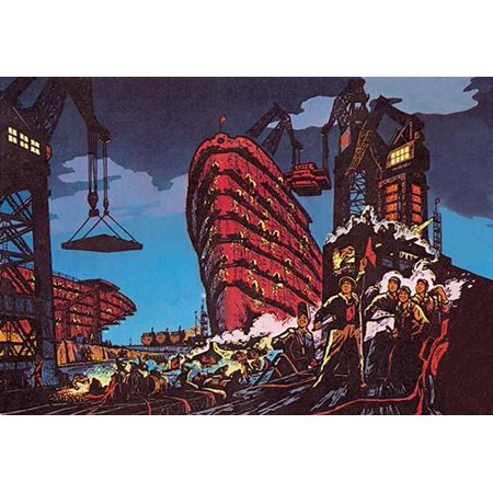 Chinese propaganda poster showing the construction of a large merchant ship with many proud Chinese around Poster Print by Xue-Lin
