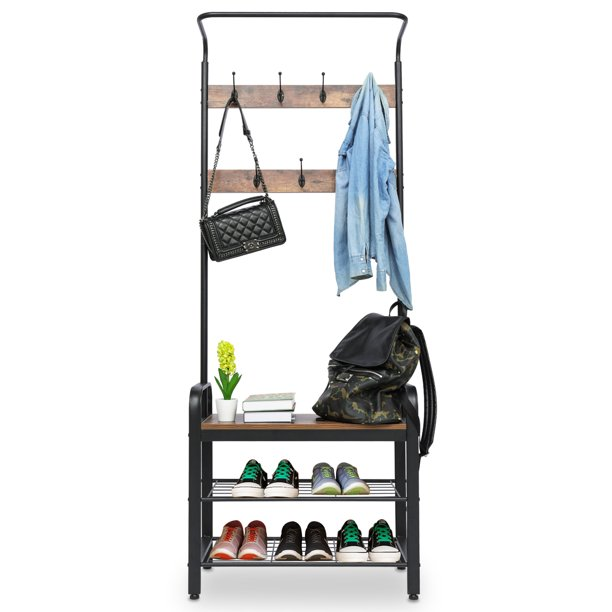 """Entryway Clothes Coat Stand, Hall Tree Storage Organizer 3-Tier Shoes Rack Shelves 7 Hooks, Wood Look Accent Furniture With Stable Metal Frame ,72'' X28""""X13"""""""