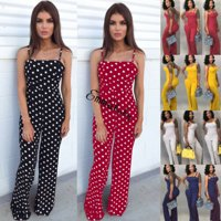 Women Summer Sleeveless Jumpsuit Playsuit Party Wide Leg Long Trousers Romper