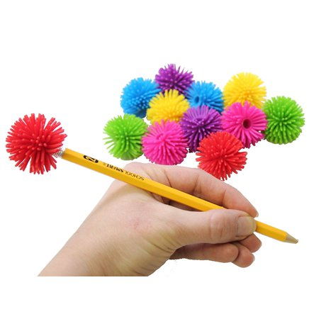 12 Hedge Ball Pencil Toppers - Sensory Office Toy - Party Favor Classroom Prize (Halloween Classroom Party Craft Ideas)