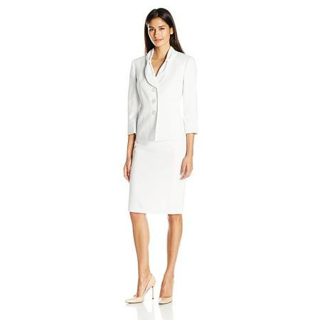 Le Suit Petite Bow Collar Dot Print 34 Sleeve Jacket Skirt Suit