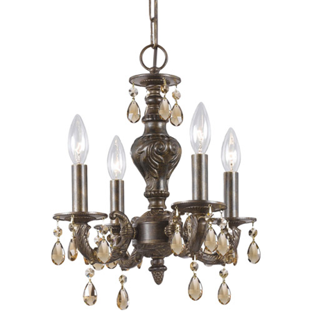 Mini Chandeliers 4 Light With Venetian Bronze Golden Teak Hand Cut Crystal Wrought Iron 14 Inch