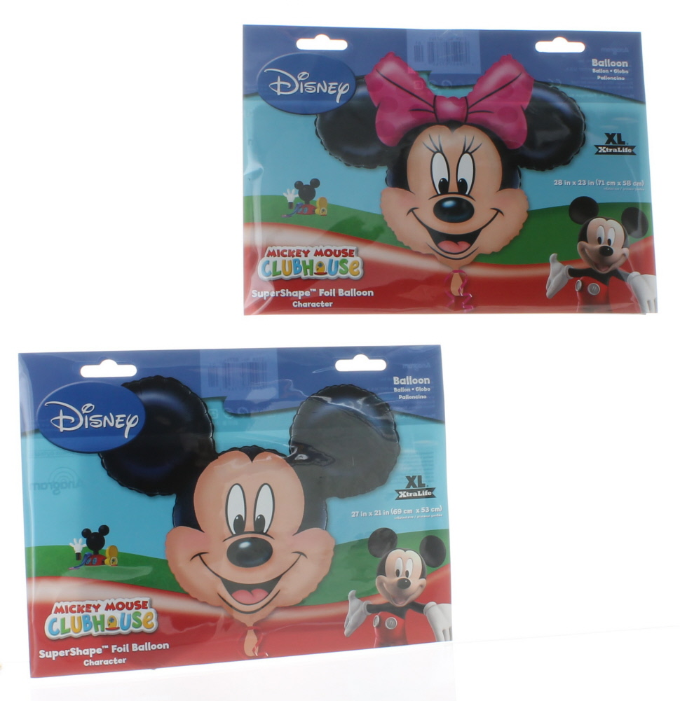 """2 Balloon Disney Set 27"""" Mickey Mouse & 28"""" Minnie Mouse Foil Mylar Decorations"""