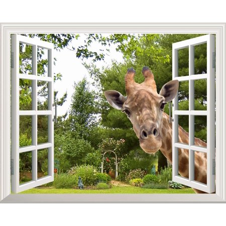 Wall26 Creative Wall Sticker Removable Wall Art Wall Decal - A Curious Giraffe Sticking Its Head into an Open Window | Cute & Funny Wall Mural -