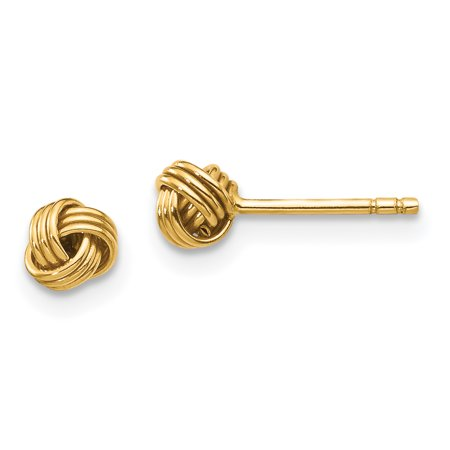 14k Yellow Gold Love Knot Post Stud Ball Button Earrings Fine Jewelry For Women Gift Set