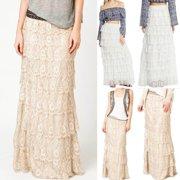 Newest Fashion Womens Lace Long Skirt Elastic Flowy Pleated A-Line Boho Maxi Dress