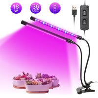 LED Plant Grow Lights, Dual Lamp 18W Greenhouse Gooseneck LED Grow Light for Indoor & Outdoor Plants, Hydroponic Garden, Greenhouses