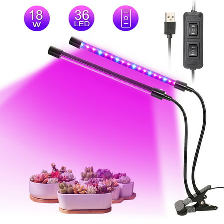 LED Plant Grow Lights, Dual Lamp 18W Greenhouse Gooseneck LED Grow Light for Indoor & Outdoor Plants,Hydroponic Garden,Greenhouses Sunmaster Grow Lamps