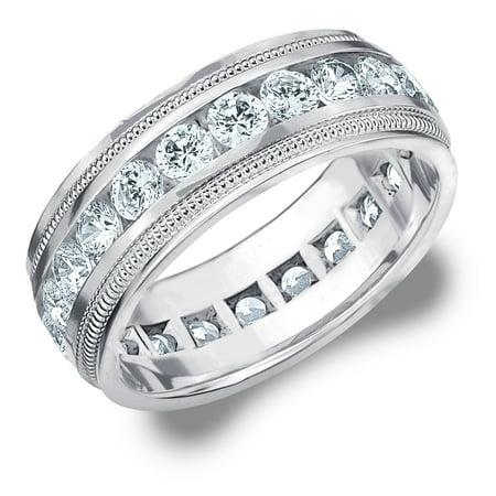 3 Cttw Diamond Men S Wedding Band In 14k White Gold Carat Eternity Ring