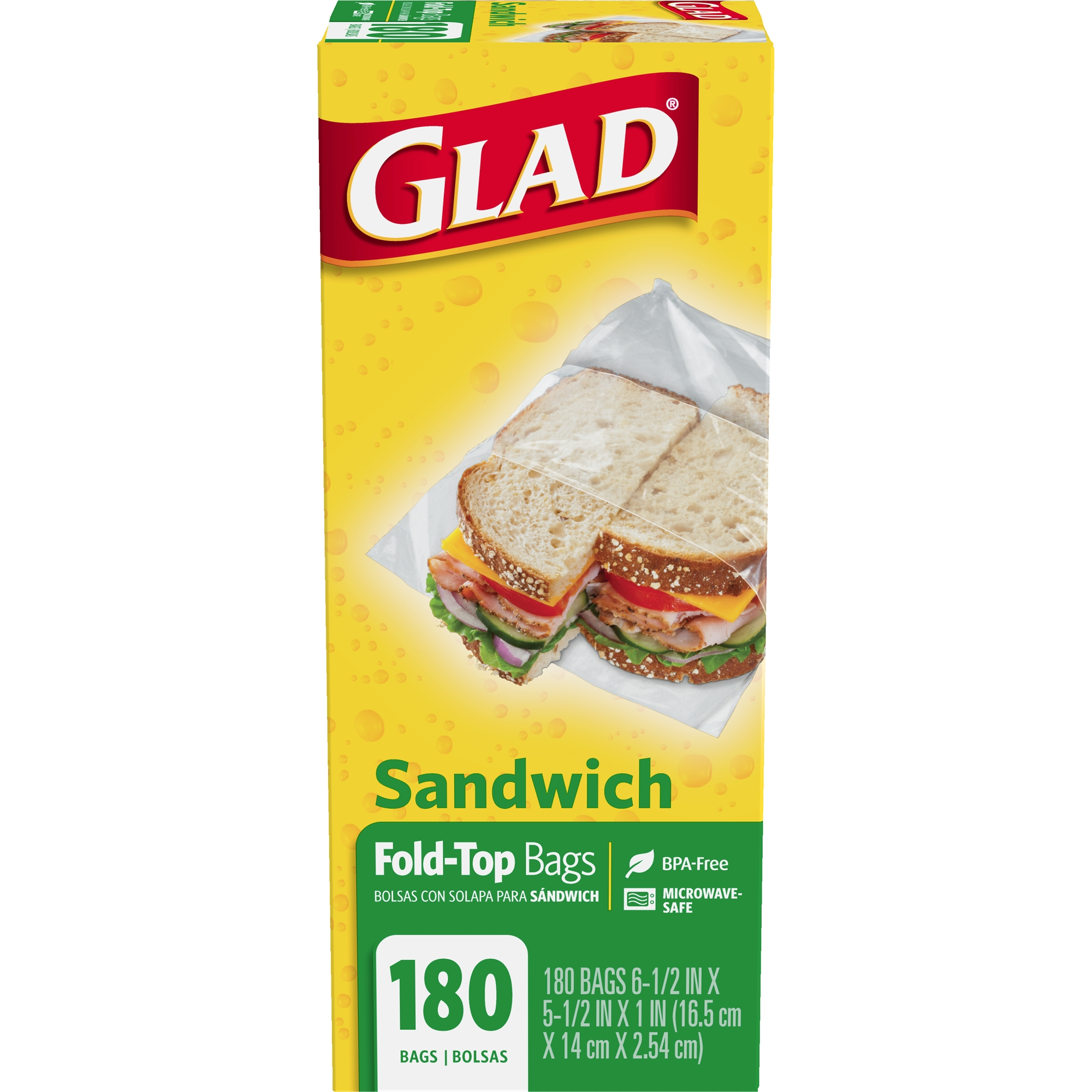 Glad Food Storage Bags - Sandwich Fold Top - 180 ct