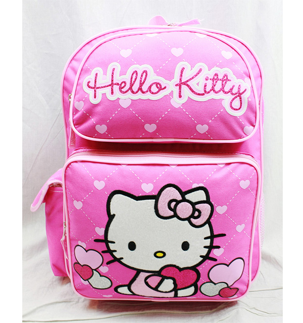 """Backpack Hello Kitty Glitter Heart Pink School Bag 16"""" New Gifts Toys 83069 by FAB Starpoint"""