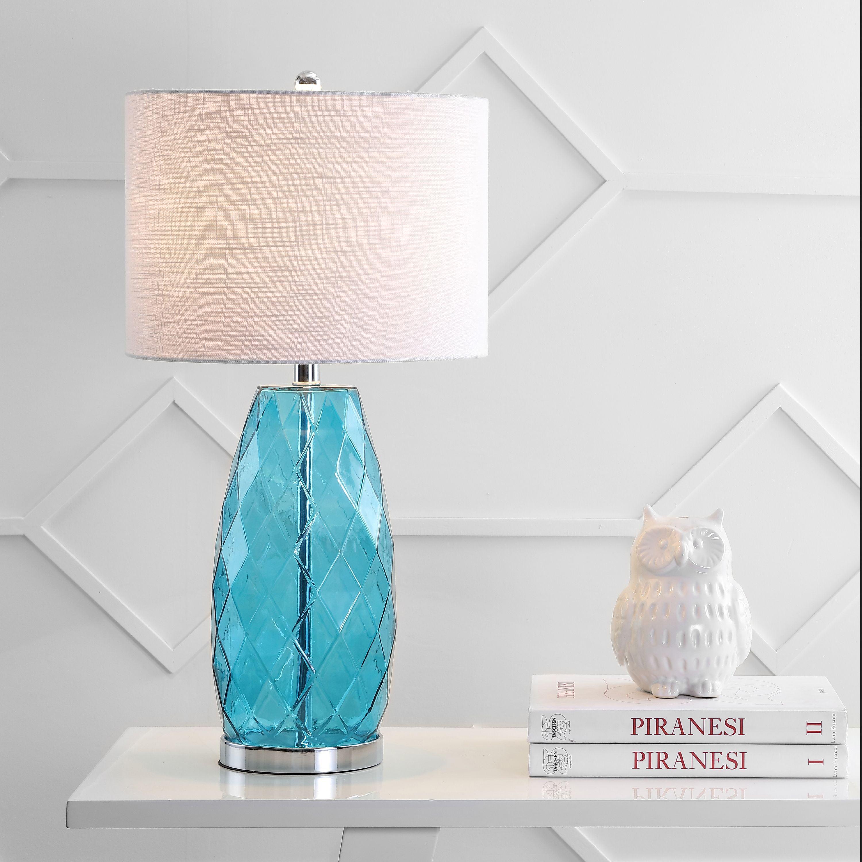 Picture of: Juliette 26 5 Glass Metal Led Table Lamp Moroccan Blue Walmart Com Walmart Com
