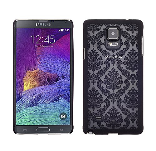 Samsung Galaxy Note 4 Case, Ultra Slim Damask Vintage Hard Case Cover for Galaxy Note 4 - Black
