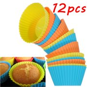 Dozen Cupcakes from Bakery ,Reusable Cupcake Moulds Mini Silicone Baking Cups Muffin Cups Cupcake Liners Chocolate Holders Vibrant Colors Round