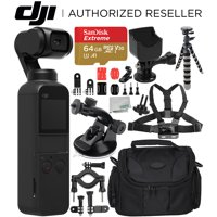 DJI Osmo Pocket Gimbal with Must-Have Action Accessory Bundle – Includes: SanDisk Extreme 64GB microSDXC Memory Card + Accessory Mount + Flexible Gripster Tripod + Suction Cup Mount + MORE